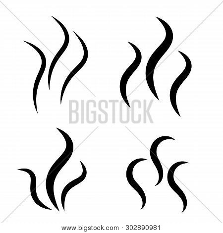 Smoke Steam Silhouette Icon. Cooking Steam Or Warm Aroma Smell Mark, Steaming Vapour Odour Symbols.