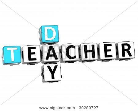 3D Teacher Day Text Crossword