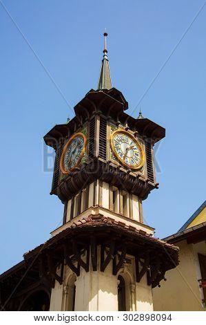 Historic Art Nouveau Clocktower Of Pump House In Evian-les-bains