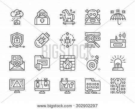 Set of Cyber Security Line Icons. Spy Agent, Trojan Horse, Cryptography and more poster