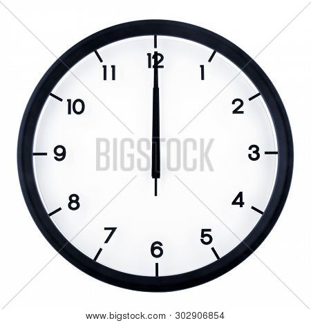 Classic analog clock pointing at 12 o'clock, isolated on white background
