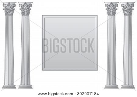 Template With Historical Antique Greek Columns With Place For Text Vector Line Illustration