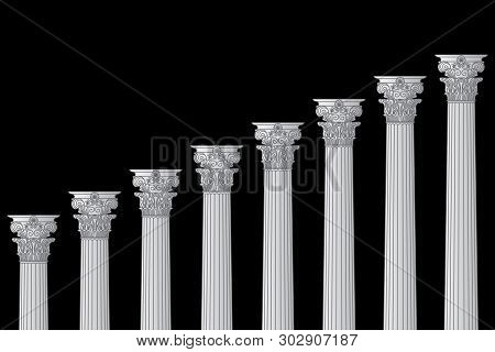 A Series Of Greek, Antique, Historic Colonnades With Corinthian Capitals And Space For Text On A Bla