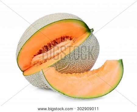 Whole And Slice Of Japanese Melons, Orange Melon Or Cantaloupe Melon With Slice Isolated On White Ba