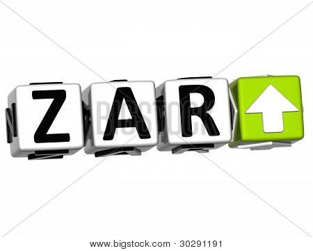 Currency Zar Rate Concept Symbol Button On White Background