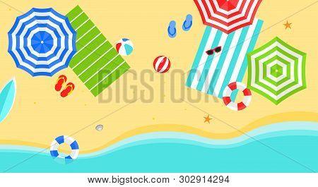 Summer Time, Summer Beach Poster Vector Illustration