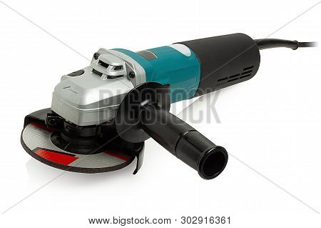 Modern, Compact Angle Grinder On White Background