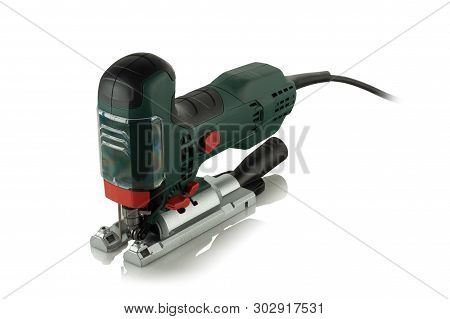 Modern, Professional Electric Jigsaw On White Background