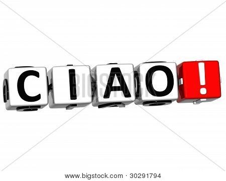 3D Ciao Block Text On White Background