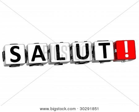 3D Salut Block Text On White Background