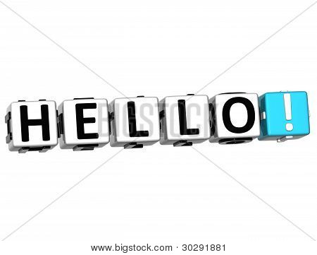 3D Hello block text on white background poster