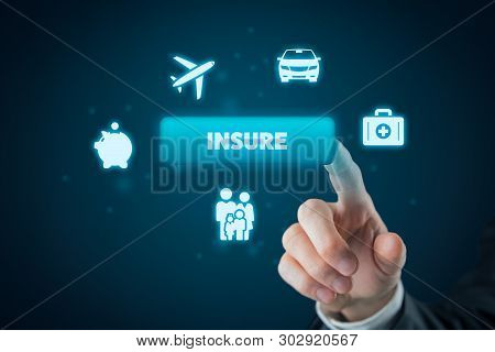 On-line Insurance Concept. Businessman (or Insurance Agent Or Client) Click On Insure Button. Insura
