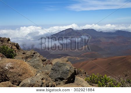 Landscape With Haleakala Volcano Or East Maui Volcano.  Maui, Hawaii.