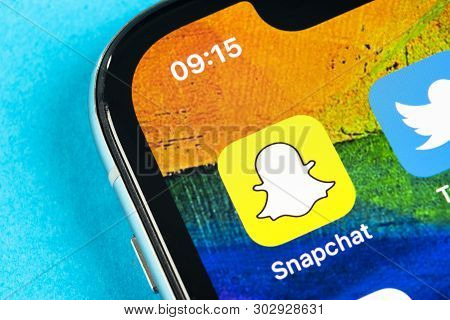 Helsinki, Finland, May 4, 2019: Snapchat Application Icon On Apple Iphone X Smartphone Screen Close-