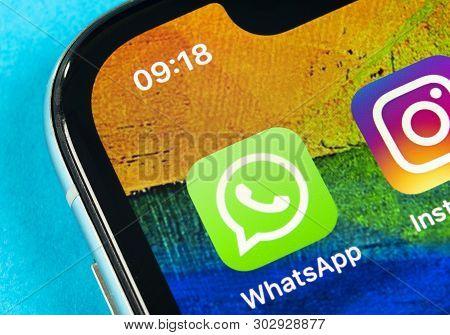 Helsinki, Finland, May 4, 2019: Whatsapp Messenger Application Icon On Apple Iphone X Smartphone Scr