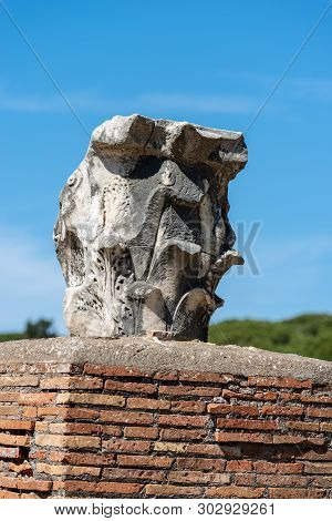 Ancient capital in Corinthian style in Ostia Antica, Roman colony founded in the 7th century BC. Rome, UNESCO world heritage site, Italy, Latium, Europe poster