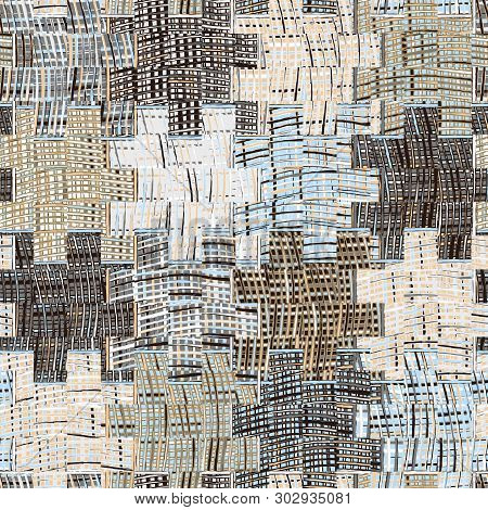 Quilted Pattern With Grunge Striped And Checkered Square Elements In Blue,beige Grey Colors