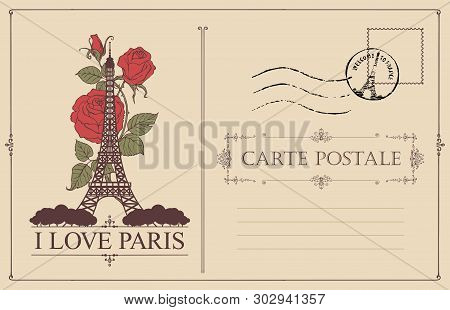Retro Postcard With The Famous French Eiffel Tower In Paris, France. Vector Postcard In Vintage Styl