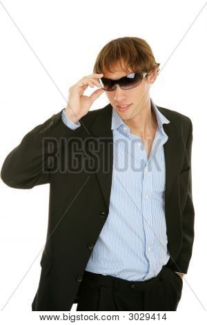 Young Businessman Removes Sunglasses