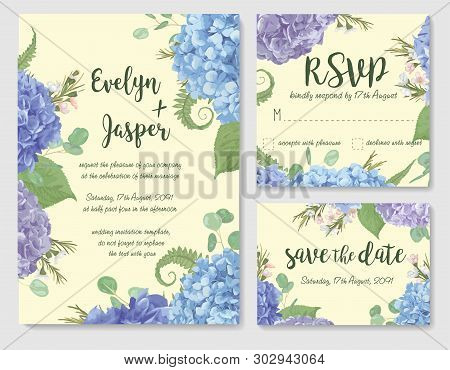 Set Of Vector Wedding Invitation, Greeting Card, Save Date. Leaves, Branches Eucalyptus, Gaultheria,