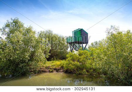 Birdwatching Hideout For Birds In The Danube Delta , Romania