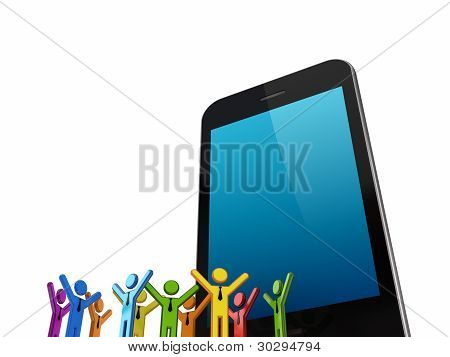 Huge mobile phone and colorful 3d small people.