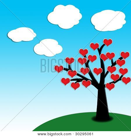 heart spring on a tree with clear blue sky background