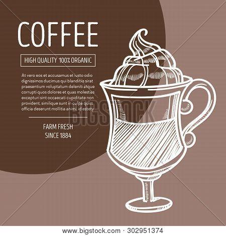 Coffee In Glass With Foam Irish Recipe Chalk Sketch