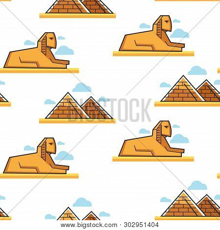 Sphinx And Pyramid Egyptian Architecture And Landmark Seamless Pattern