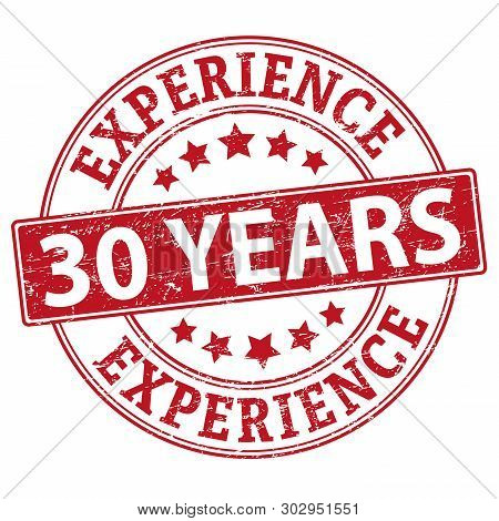 30 Years Experience Rubber Stamp Vector Illustration Isolated On White Background
