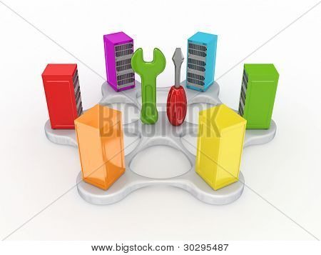 Technical support concept.Isolated on white background.3d rendered. poster