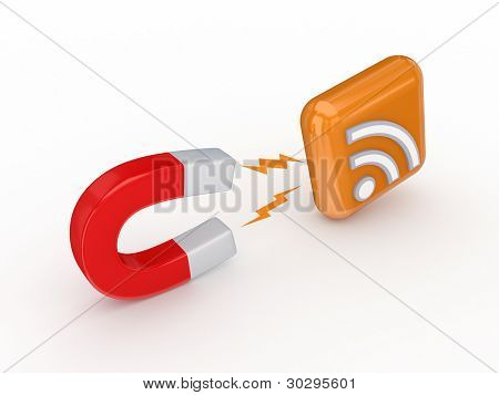 Magnet and RSS symbol.