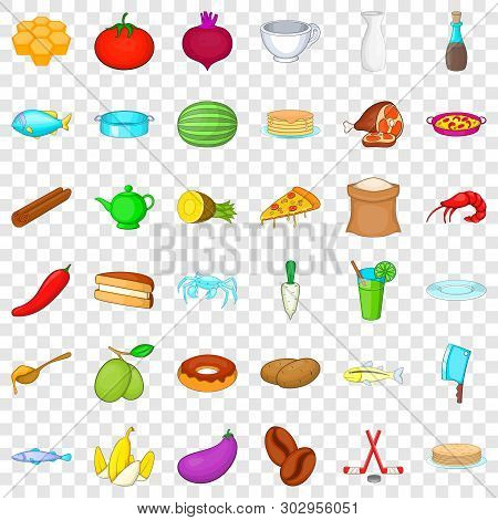 Delicatessen Icons Set. Cartoon Style Of 36 Delicatessen Vector Icons For Web For Any Design