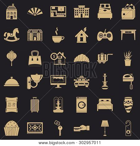 Hotel Service Icons Set. Simple Style Of 36 Hotel Service Vector Icons For Web For Any Design