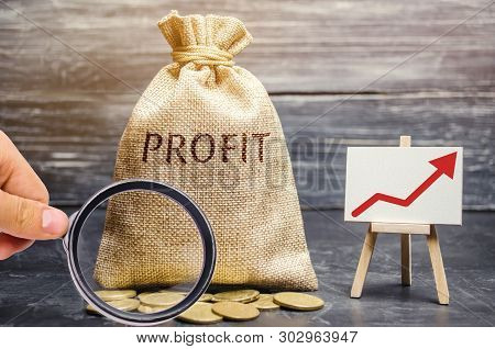 poster of Money bag with the word Profit and an up arrow. Concept of business success, financial growth and wealth. Increase profits and investment fund. Saving money and accumulation.