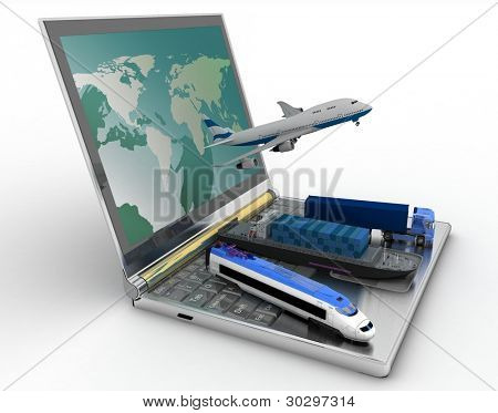 concept of logistics. delivery and transporting by all types of transport
