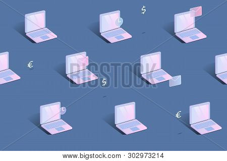 Seamless Pattern, Isometric Laptops With Money Icons, Pink On Blue Background