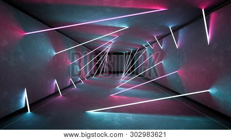Night Club Interior Lights 3d Render For Laser Show. Glowing Lines. Abstract Fluorescent Background.
