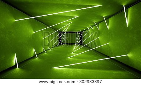 Night Club Interior Green Lights 3d Render For Laser Show. Glowing Green Lines. Abstract Fluorescent