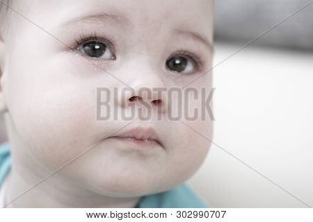 Crying Baby 6 7 Months, Portrait Close-up. Sad Face Of A Child With Tears In His Eyes, Baby Tears Gi