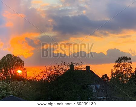 House and trees at sunset