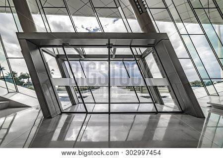 Union Museum, Etihad, Dubai, United Arab Emirate - Jan.4, 2018: Main Entrance To The Etihad Museum,