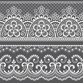 Decorative vintage lace seamless vector pattern, ornamental repetitive design with flowers and swirls in white on gray background. Beautiful laces frame, retro textile decoration with repetitive graphics inspired by French and English wedding lace set poster