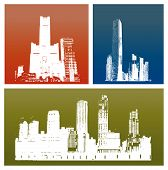 Three skyscrapers silhouette against gradient background (vector illustration) poster