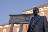 Bronze memorial statue of Thurgood Marshall, the first African American appointed to the U.S. Supreme Court in 1967 in Lawyers' Mall across from the Maryland State House in Annapolis, MD. poster