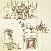 victorian england - hand drawn set poster