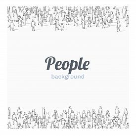 Large Group Of People On White Background. Outline Style. People Communication Concept.