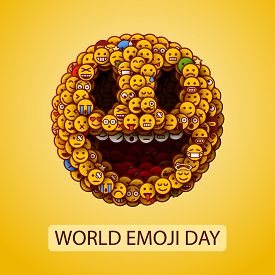 World Emoji Day. Smiley Face Made Of Many Small Smiles. Unusual And Creative Smile Crowd Concept.