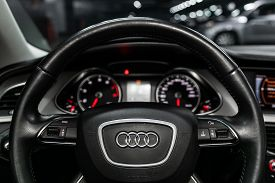 Novosibirsk, Russia - May 21, 2019:audi A4, Close-up Of The Dashboard, Speedometer, Tachometer And S