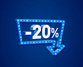 Banner 20 Off With Share Discount Percentage, Neon Signboard Arrow.